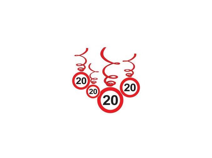 """Špirály s číslom """"20"""" červené 6ks v balení"""