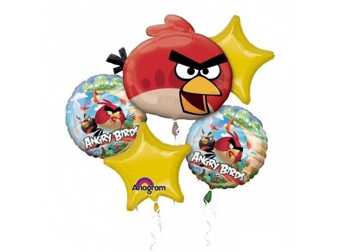 Balónová kytica Angry Birds 5ks balónov