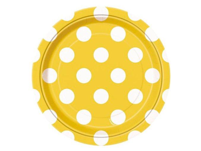 Tanier žltý s bielymi bodkami 17,1cm 8ks v balení