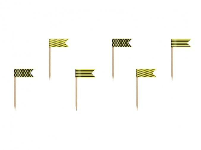 Vlajky - Zápich na muffinky Včielka 6ks v balení