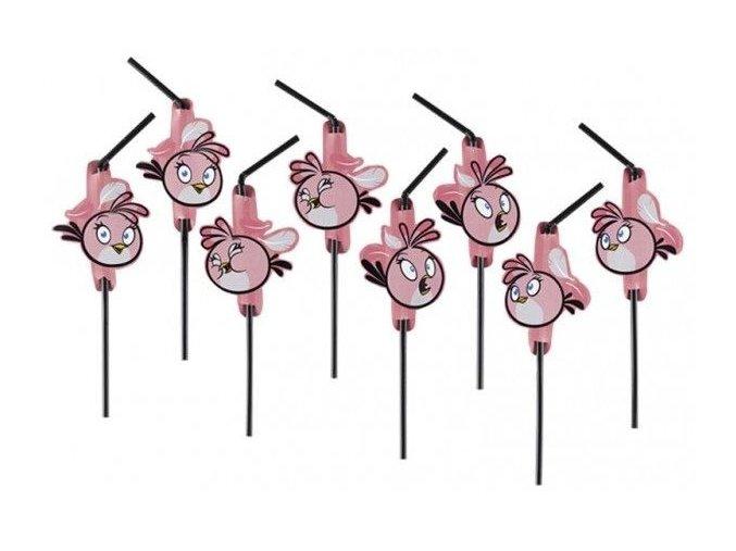 Slamky Angry Birds ružové 8ks v balení