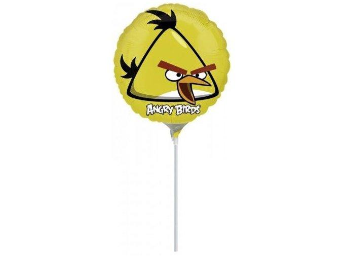 Fóliový balón Angry Birds žltý na paličke