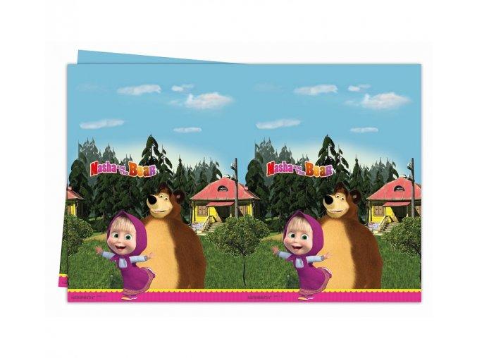 Obrus Máša a medveď plastový 120x180cm