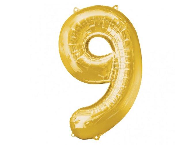 Fóliový balón číslo ,,9,, zlatý 86cm