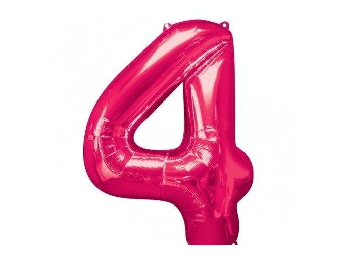 Fóliový balón 4 ružová 86cm