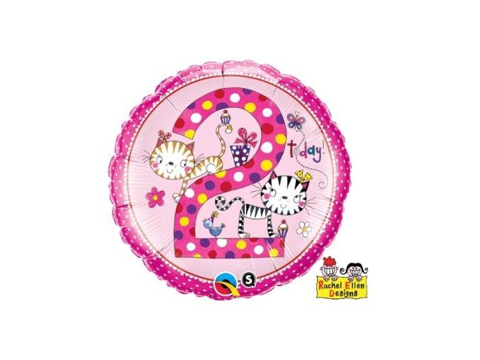 Fóliový balón s číslom 2 ružový 46cm