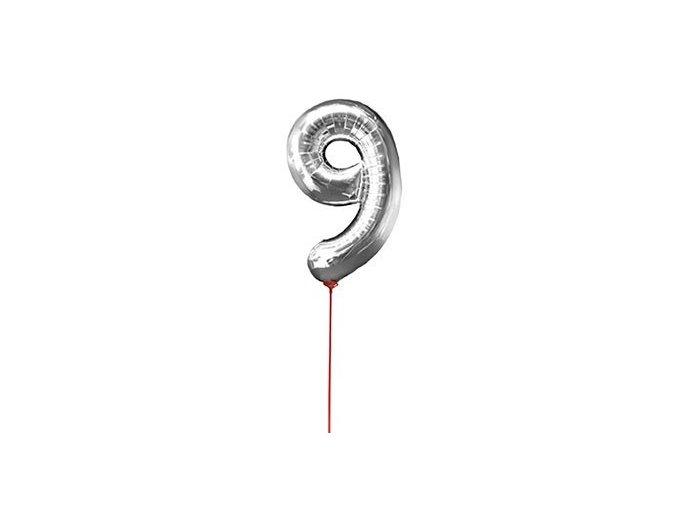 Fóliový balón 9 strieborná na paličke 30cm