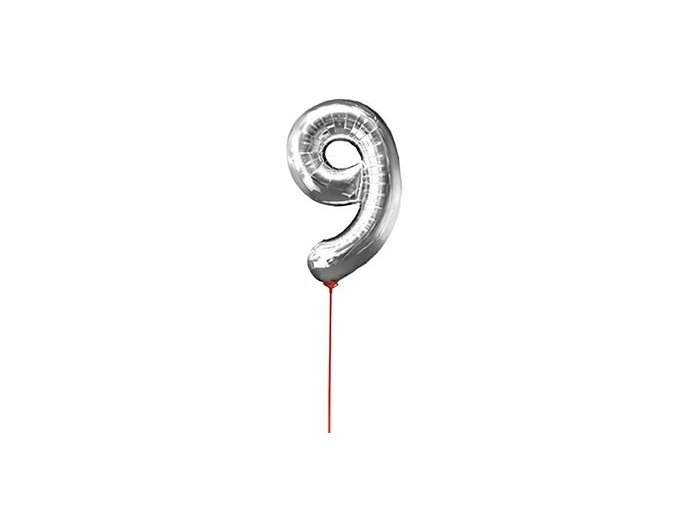 Fóliový balón číslo ,,9,, Strieborný na paličke 30cm