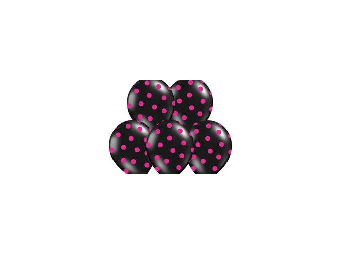 """Latexový balón 14"""" pastel čierny s ružovými bodkami 6 ks v balení"""