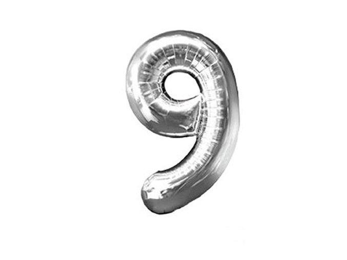 Fóliový balón číslo ,,9,, Strieborný 80cm