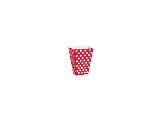 Krabičky na popcorn červené 8ks v balení