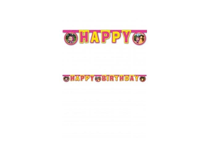 Banner -girlanda Máša a Medveď Happy Birthday 2m
