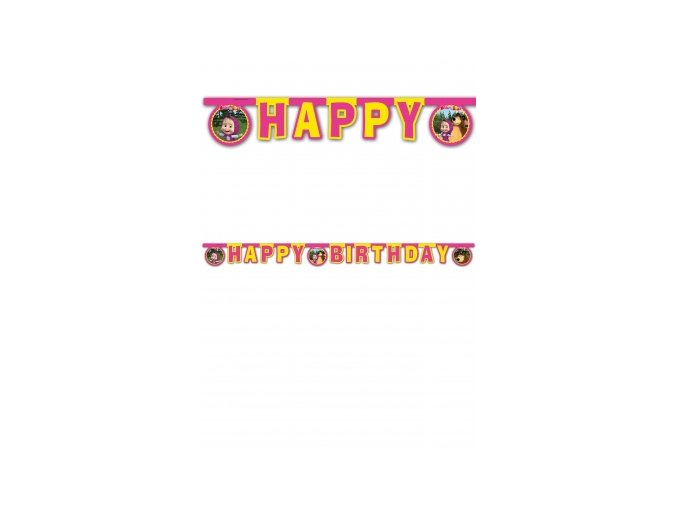 Banner Máša a medveď Happy Birthday 2m