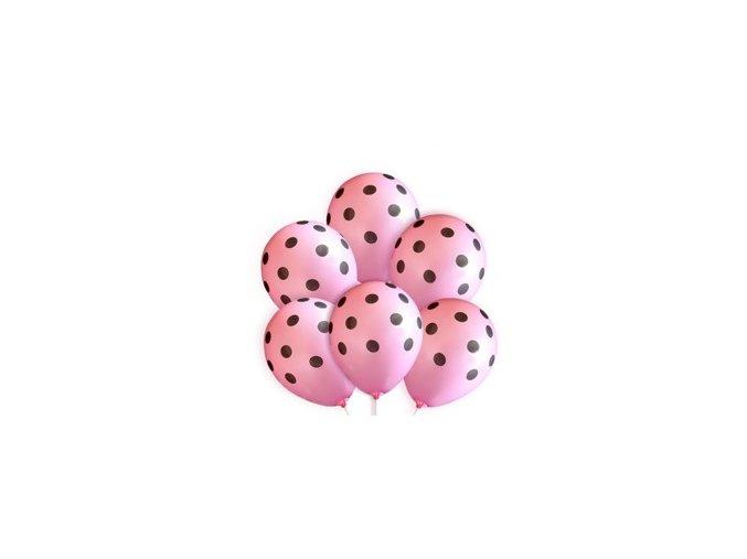 Latexový balón ,,14,, Ružový neon s čiernymi bodkami 1ks v balani