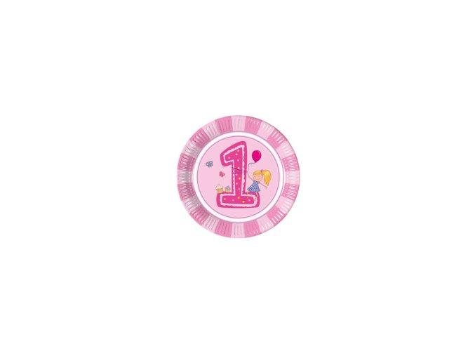 Tanier 1st Birthday ružový 8ks v balení, 23cm