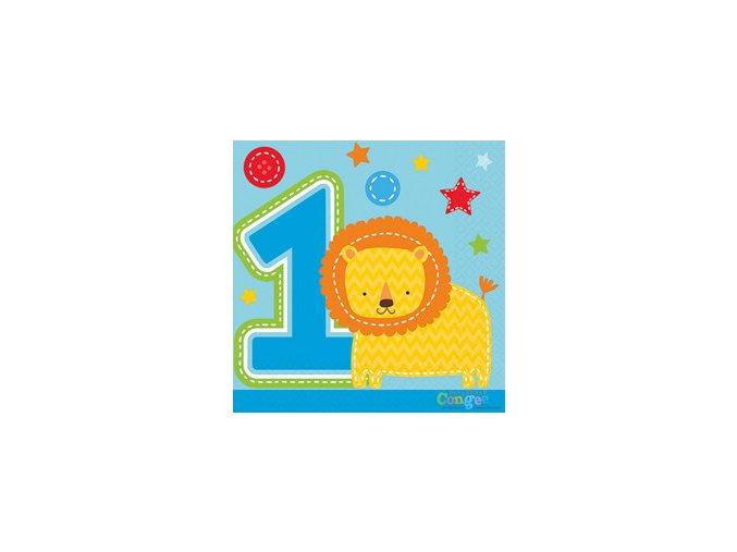 Servitky 1st Birthday Safari modré 16ks v balení, 24,7x24,7cm
