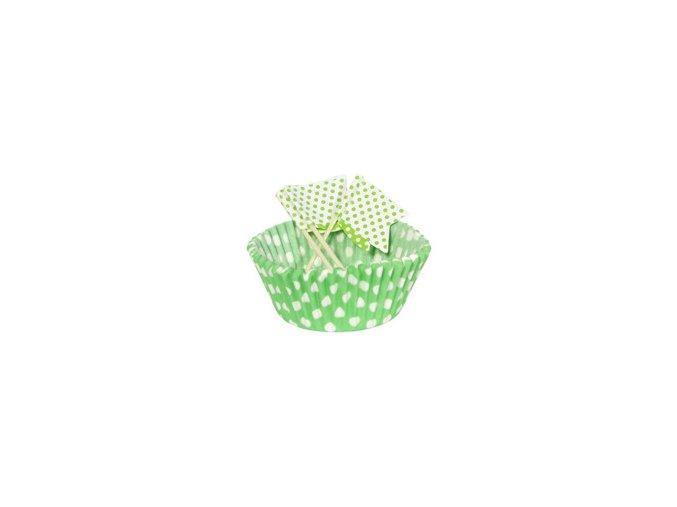 Košíčky+vlajky na Mafinky zelené s bodkami