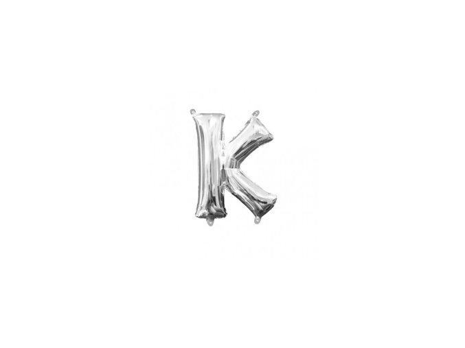 Fóliový balón písmeno ,,K,, strieborný 25x33cm