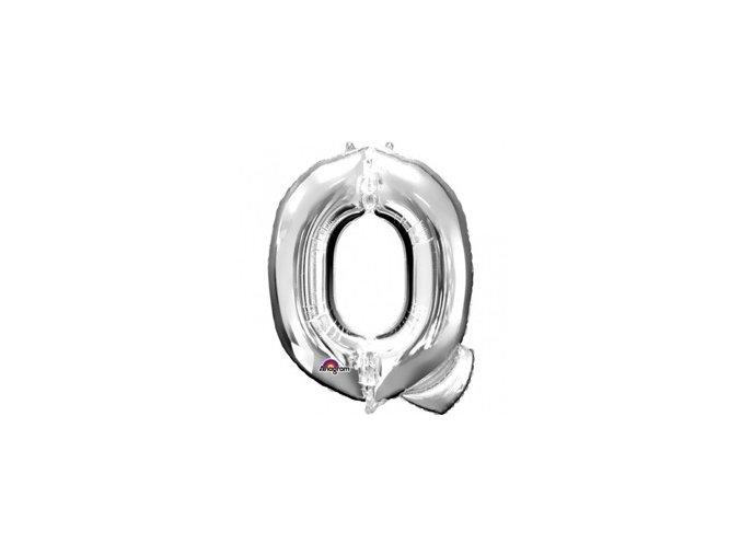 Fóliový balón písmeno ,,Q,, strieborný 25x33cm
