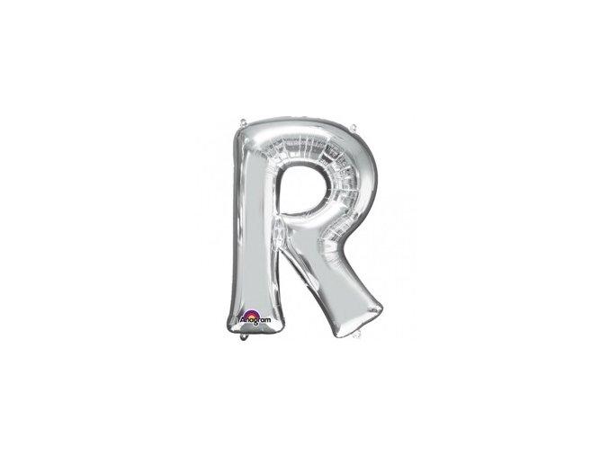 Fóliový balón písmeno ,,R,, strieborný 22x33cm