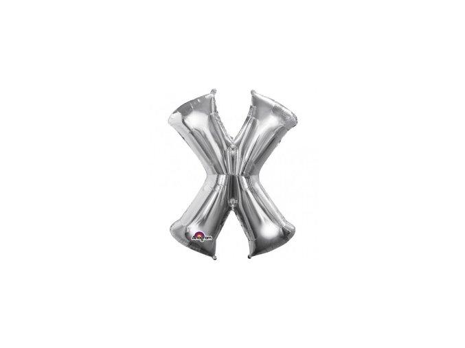 Fóliový balón písmeno ,,X,, strieborný 27x35cm