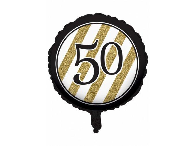 Fóliový balón čierno zlatý číslo ,,50,, Happy Birthday 45,7cm