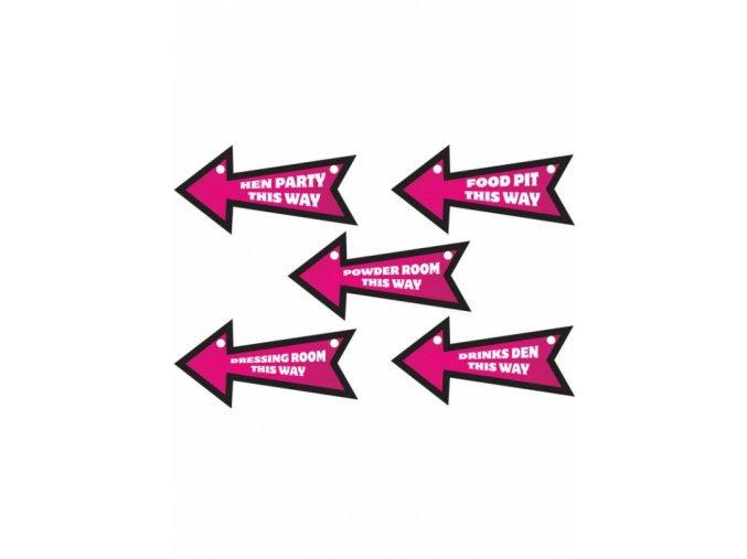 Dekorácia Smerovky-šípky na oslavu 6ks v balení