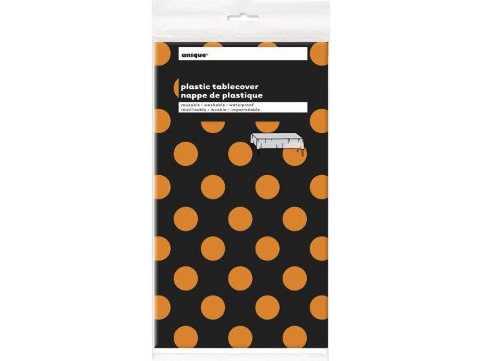 Obrus čierny s oranžovými bodkami