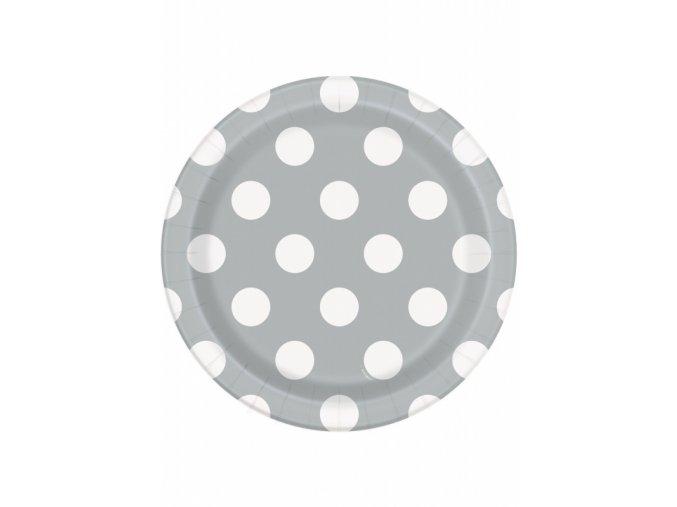 Tanier strieborný biela bodka 17,1cm 8ks v balení