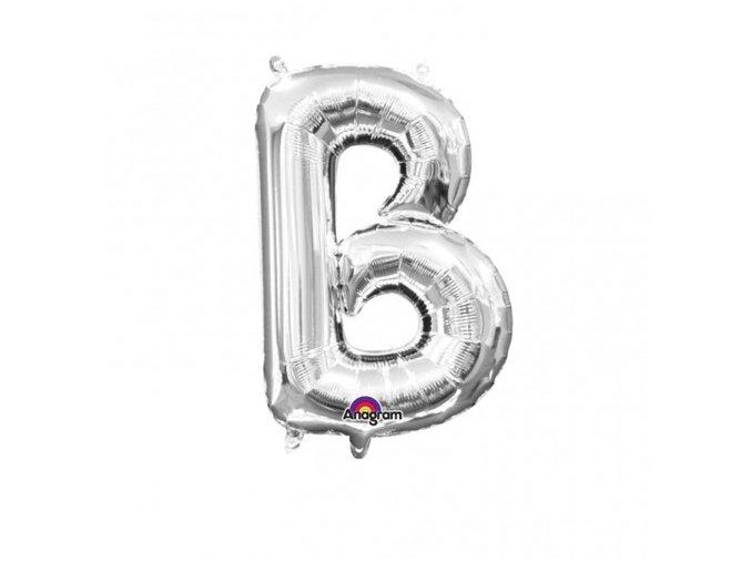 Fóliový balón písmeno ,,B,, strieborný 22x33cm