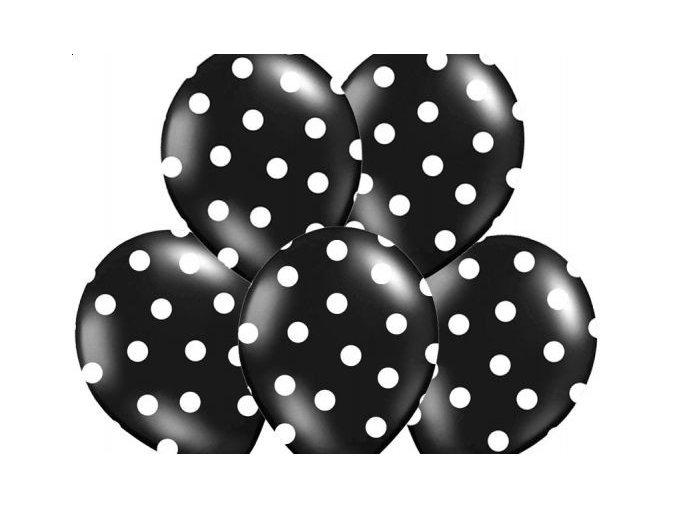 """Latexový balón 14"""" čierny s bielymi bodkami 1ks v baleni"""
