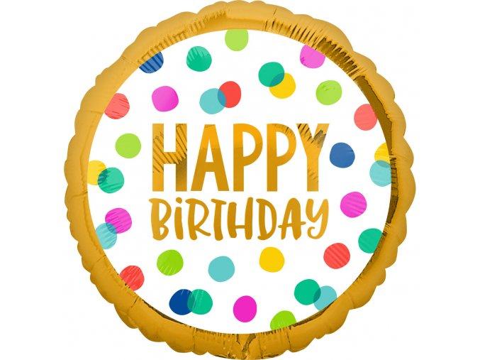 Fóliový balón bodkový Happy Birthday 43cm