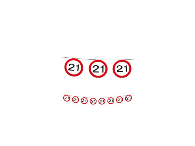 "Girlanda-Banner značka s číslom ""21"" červená 12m"