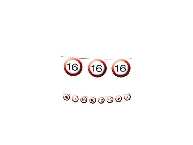 "Girlanda-Banner značka s číslom ""16"" červená 12m"