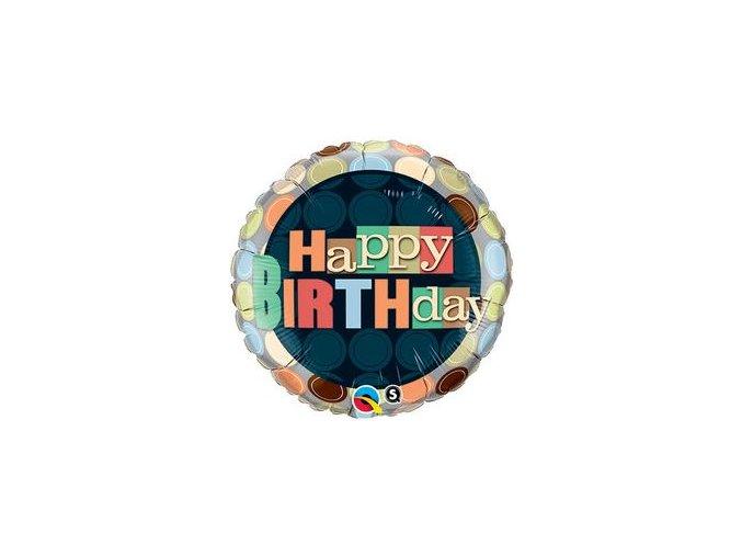 Fóliový balón s bodkami Happy Birthday 46cm