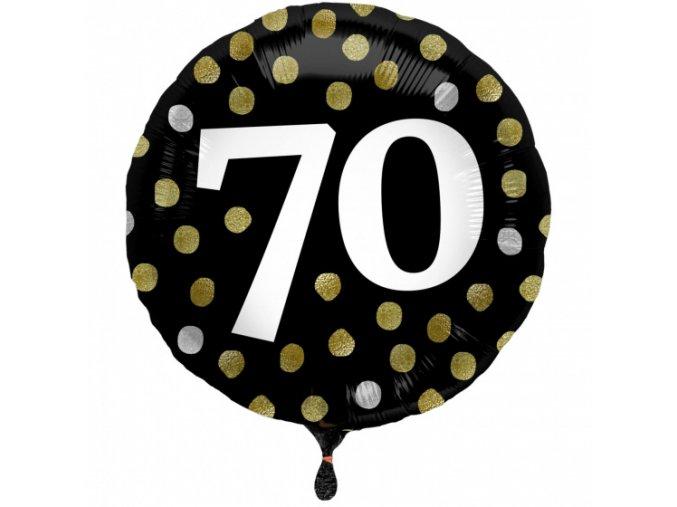 folat folieballon glossy 70 jaar rond 45 cm zwart goud 443401 1596461309