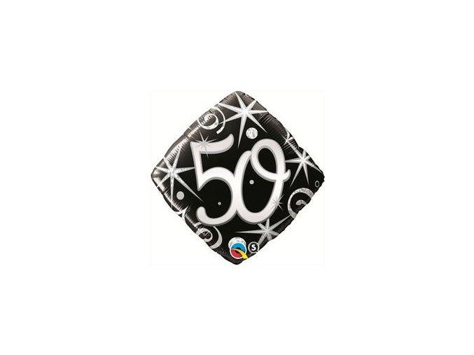 Fóliový balón čierno strieborný číslo ,,50,, Happy birthday 46cm