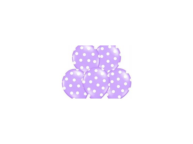 """Latexový balón 14"""" levanduľový s bielymi bodkami 6 ks v balení"""