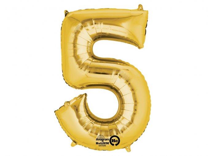 eng pl Number 5 Gold SuperShape Foil Balloon 58 x 88 cm 1 pc 30230 1