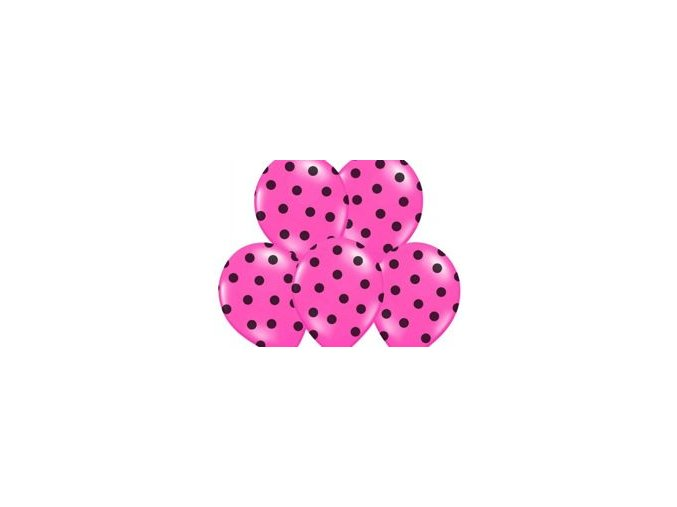"""Latexový balón 14"""" pastel ružový s čiernymi bodkami 1ks v balení"""