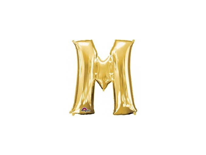 pol pm Balon foliowy litera M zlota 27 x 33 cm 21395 1