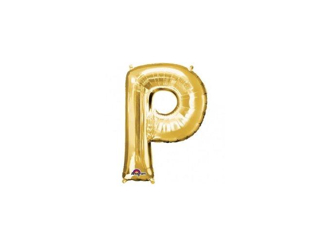 pol pm Balon foliowy litera P zlota 22 x 33 cm 21332 1