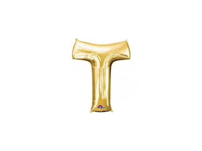 pol pm Balon foliowy litera T zlota 25 x 33 cm 21325 1