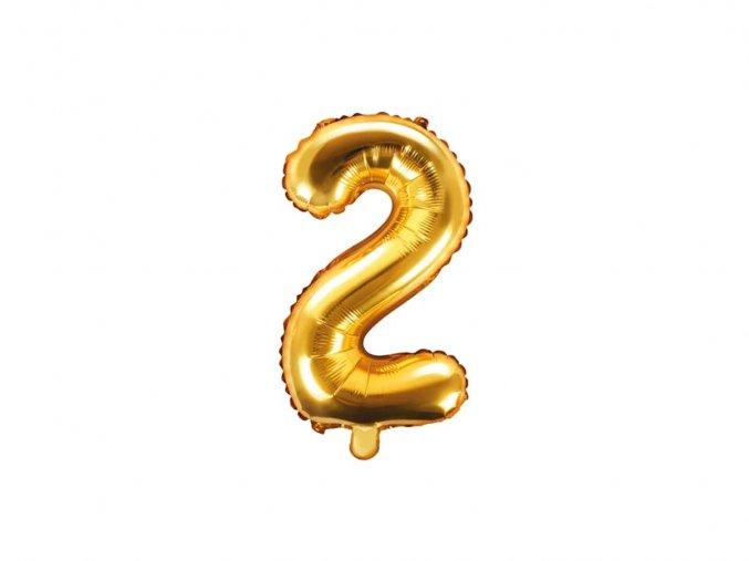 eng pl Mini Shape Number 2 Gold Foil Balloon 35 cm 1 pc 34270 1