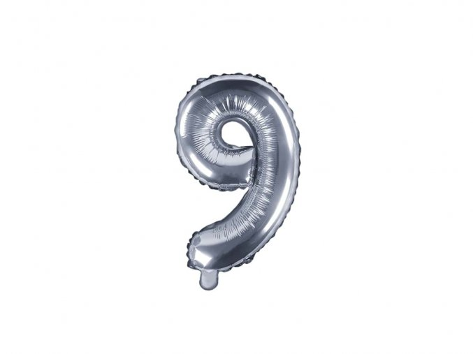 eng pl Mini Shape Number 9 Silver Foil Balloon 35 cm 1 pc 34287 2