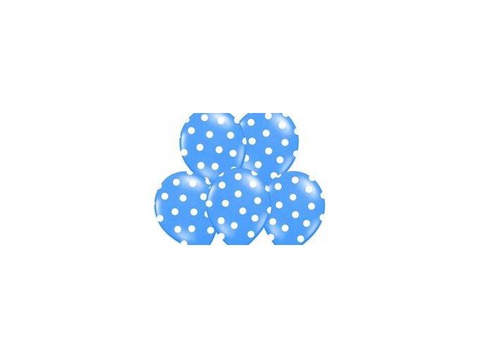 """Latexový balón 14"""" Tmavo Modrý s bielymi bodkami 1ks v balení"""