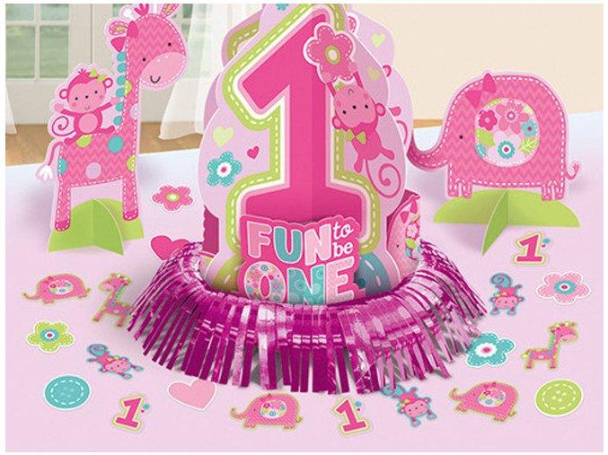 Stolová dekorácia 1st Birthday ružová