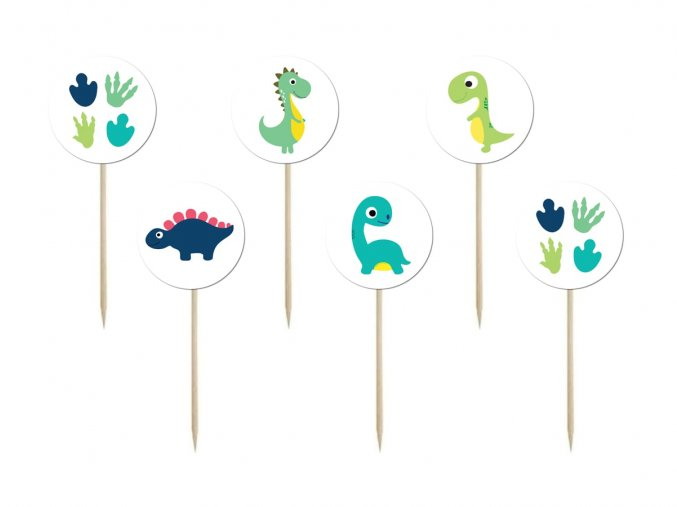 eng pl Cake toppers birthday Happy Dinosaurs 6 pcs 44767 2