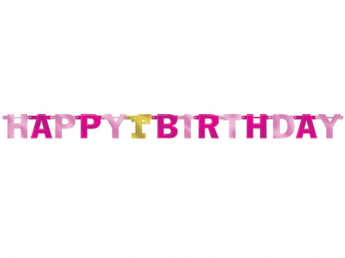 eng pl Letter Banner 1st Birthday Pink 213cm 36063 1