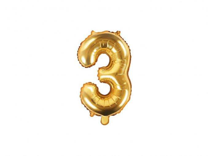 eng pl Mini Shape Number 3 Gold Foil Balloon 35 cm 1 pc 34271 2